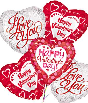 Valentine's Day Mylar Balloon Bouquet