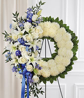 Blue & White Standing Wreath